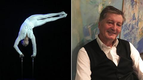 Collage: Ein Akorbat tritt im Tigerpalast auf (links), Mitbegründer und Direktor Johnny Klinke (rechts)