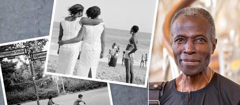 Collage aus Fotografien von Akinbode Akinbiyi und einer Porträtaufname des Fotografen