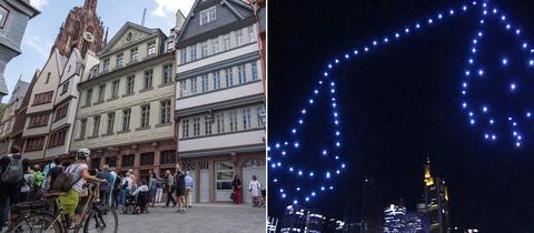 Collage: Altstadt Frankfurt Eröffnungsfeier