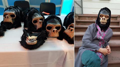 Affenmasken, Künstler Ole Frahm im Kostüm