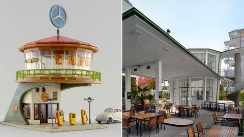 """Collage: Der Feller-Modellbausatz """"Autorast"""" und sein Vorbild, das damalige Autohaus """"Breisgau"""" in Freiburg."""