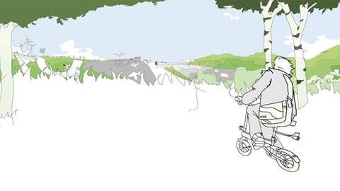 """Illustration zur Ausstellung """"Rhein-Main"""" im Architekturmuseum - eine Person auf dem Fahrrad rollt durch Landschaft"""