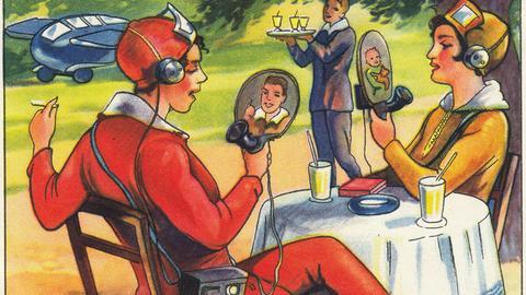 """Darstellung von Videotelefonie auf einem Sammelbildchen zu """"Zukunftsfantasien"""" aus dem """"Echte Wagner Album Nr. 3"""" von 1930. Ausstellung Back to Future"""