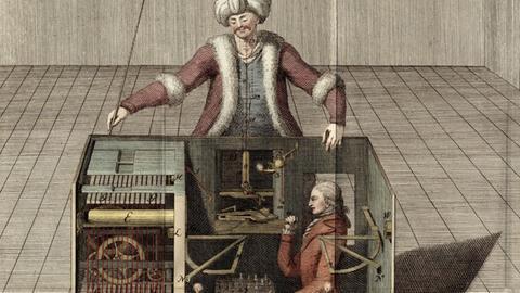 """Illustration """"Schachtürke"""" von Joseph Racknitz aus dem Jahr 1789 in der Ausstellung """"Back to Future"""""""