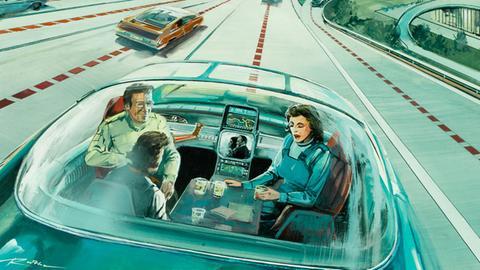 """Vision vom autonomen Fahren auf einer Zeichnung von 1974 aus der Ausstellung """"Back to Future"""""""