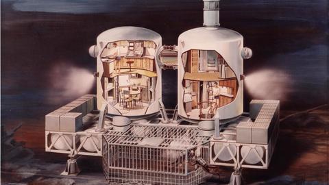 """Zeichnung von Unterwasserwohnungen aus der Ausstellung """"Back to Future"""""""