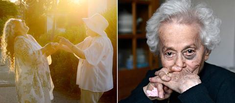 """Zwei Fotos aus der Ausstellung """"Leben nach dem Überleben"""""""
