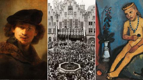 Kombination aus drei Bildern: links ein Selbstbildnis von Rembrandt, in der Mitte ein Foto eines Nazi-Aufmarsches auf dem Frankfurter Römer, rechts ein Gemälde von einem jungen Mädchen der Malerin Paula Moderson-Becker