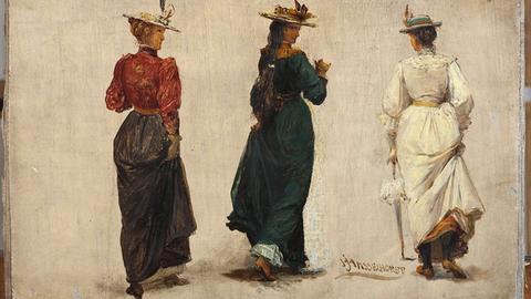 """Johann Heinrich Hasselhorsts Werk """"Drei schreitende Frauen in Rückenansicht"""", Öl auf Leinwand, Frankfurt um 1900"""
