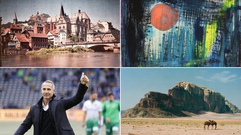 Zu sehen ist Malerei, eine historische Stadtansicht, ein Foto Hütter und ein Foto Wueste - Eindrücke aus den besprochenen Ausstellungen.
