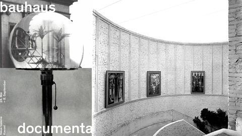 Ausstellungs-Plakat und Ausstellungsansicht mit Werken von Oskar Schlemmer, documenta 1 (1955)