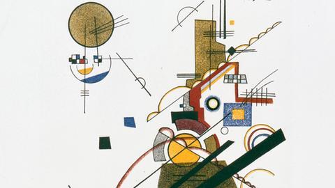 """Wassily Kandinsky, Abstrakte Komposition """"Fröhlicher Aufstieg"""", 1923, Blatt 2 aus der Meistermappe des Staatlichen Bauhauses"""