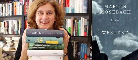 """Portrait von Sabine Baumann in Kombination mit dem Buchcover des Romanes """"Westend"""" von Martin Mosebach"""
