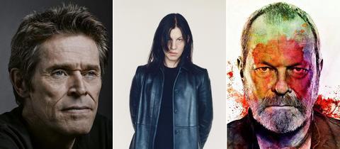 Drei Portraits der Kunstschaffenden Willem Dafoe, Anne Imhof und Terry Gilliam (von links nach rechts).