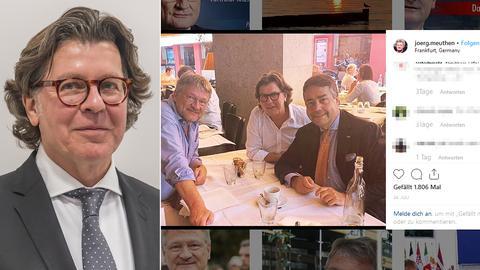Hans Joachim Mendig (li.) traf sich in Frankfurt mit AfD-Chef Jörg Meuthen und PR-Berater Moritz Hunzinger (re.)