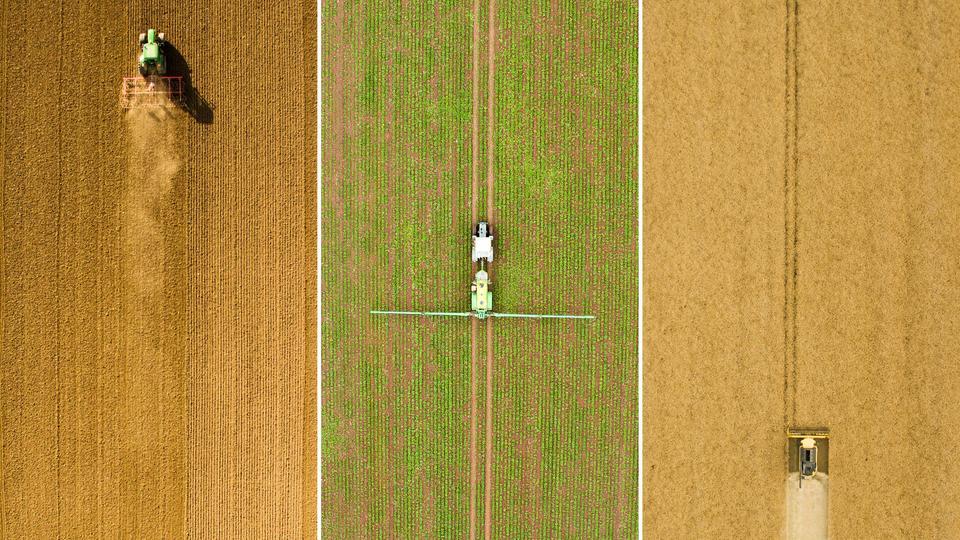 Bild-Kombo aus drei Drohnen-Aufnahmen - Landwirte bei der Feldarbeit