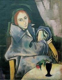 """""""Mädchen mit blauer Vase"""" von Karl Hofer (Öl auf Leinwand)"""
