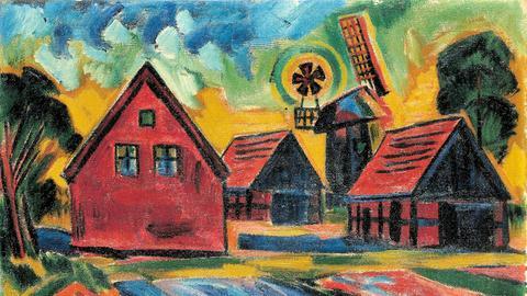 """""""Rote Häuser mit Windmühle"""" von Max Pechstein (Öl auf Leinwand)."""