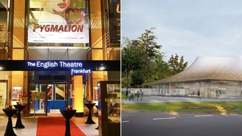 Zu sehen sind ein Foto des English Theatre Frankfurt und eine Visulaierung des Casals Forum.