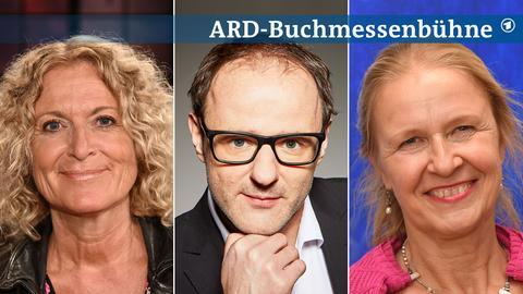 Drei Portraits von Susanne Fröhlich, Vince Ebert, Cornelia Funke (von links nach rechts).