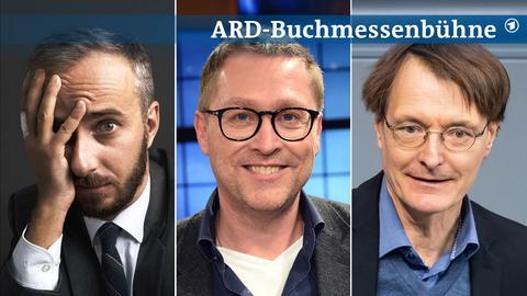 Drei Portraits von Jan Böhmermann, Jan Weiler und Karl Lauterbach (von links nach rechts).