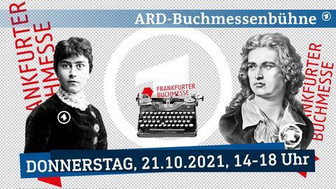Grafischer Platzhalter für die noch nicht benannten Gäste. Die Grafik spielt mit den Logos der ARD und der Frankfurter Buchmesse und Portraits verschiedender Schriftsteller*innen der Literaturgeschichte.