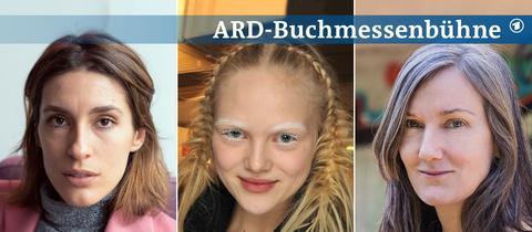 Drei Portraits von Andrea Petkovic, Aladin El-Mafaalani und Nell Zink (von links nach rechts).
