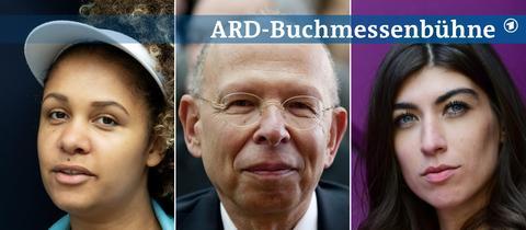Portraits von Olivia Wenzel, Rafael Seligmann und Linda Zervakis (von links nach rechts).