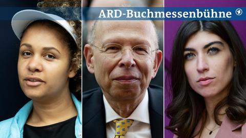 Portraits von Olivia Wenzel, Rafael Seligmann und Melisa Erkurt (von links nach rechts).