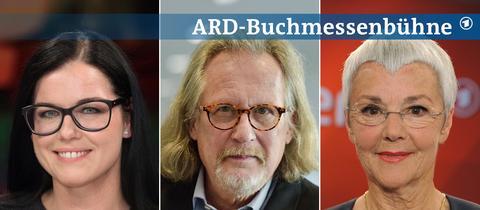 Portraits von Sina Trinkwalder, Harald Martenstein und Gabriele Krone-Schmalz (von links nach rechts).