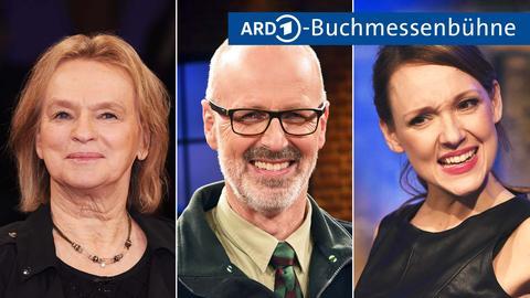 Drei Portraits - links: Elke Heidenreich, mitte: Peter Wohlleben , rechts: Carolin Kebekus. Darüber das Logo der ARD mit der Zeile Buchmessenbühne
