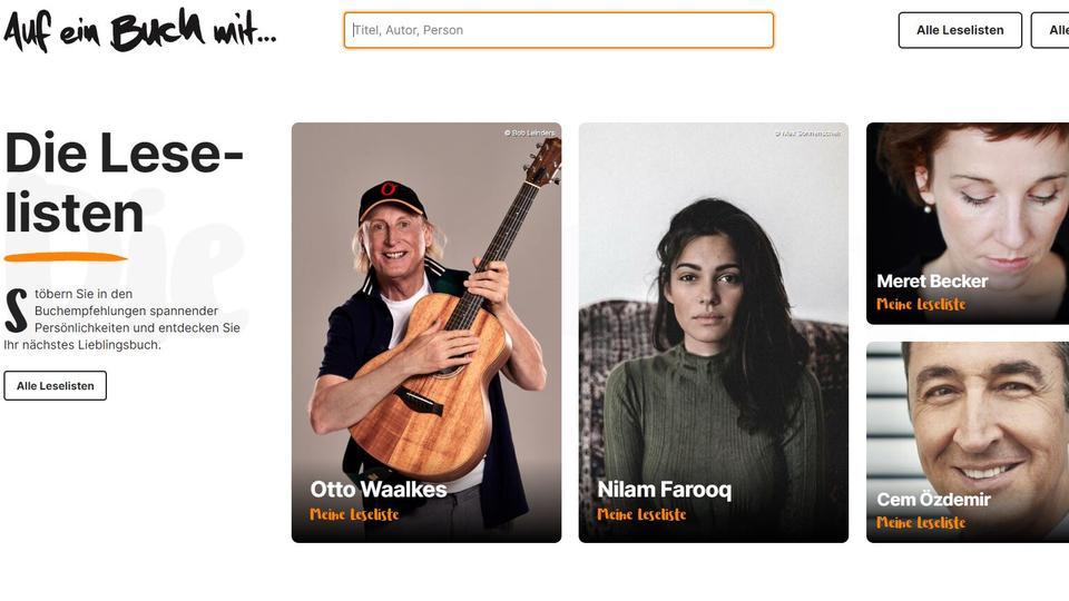 """Screenshot Startseite """"Auf ein Buch mit"""" - mit Otto Waalkes, Cem Özdemir und anderen"""