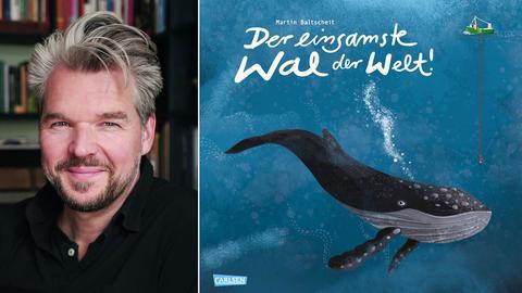 """Martin Baltscheit und das Cover von """"Der einsamste Wal der Welt"""""""