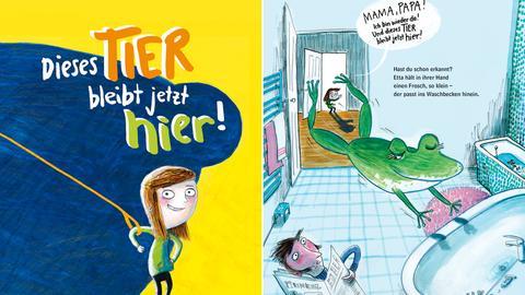 """Buchcover und Ausschnitt aus """"Dieses Tier bleibt jetzt hier!"""""""