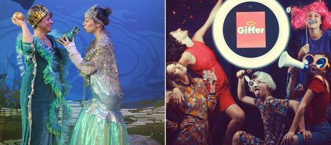 Kombi aus zwei Fotos: Kostümierte Besucher in der ARD Fotobox und der Giffer
