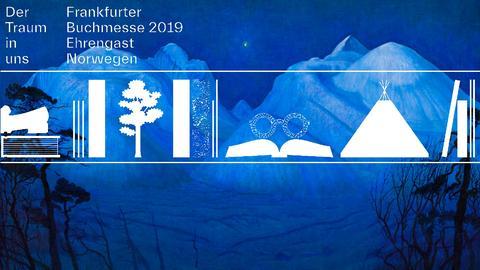 """Ausschnitt aus Harald Sohlbergs """"Winternacht in Rondane"""" mit dem Schriftzug des Ehrengast-Auftritts """"Der Traum in uns"""""""
