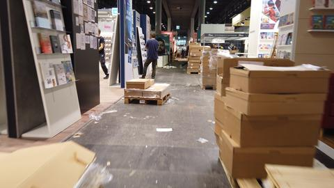 Buchmesse-Aufbau