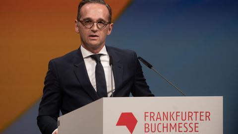 Bundesaußenminister Heiko Maas (SPD) bei der Eröffnung der Frankfurter Buchmesse