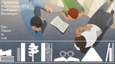 Lesende Menschen auf einem Teppich in Comic-Anmutung - darüber der Schriftzug Der Traum in uns - Frankfurter Buchmesse 2019 Ehrengast Norwegen