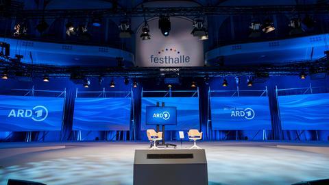 Die ARD-Buchmessenbühne in der Frankfurter Festhalle