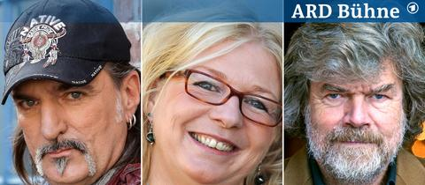 Bild-Kombi: Andreas Hoppe, Rita Falk, Reinhold Messner