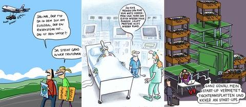 Gewinner-Cartoons im Ausschnitt