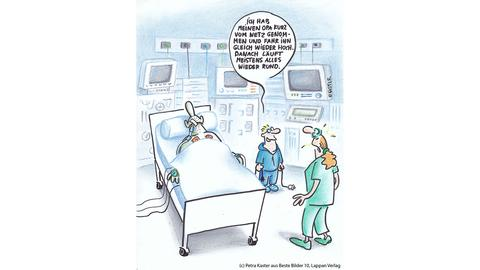 """Cartoonpreis """"Opa vom Netz genommen"""" Ein alter Mann auf der Intensivstation und sein Enkel, der die Reset-Taste an der Herz-Lungen-Maschine gedrückt hat. """"Ich habe meinen Opa kurz vom Netz genommen und fahr' ihn gleich wieder hoch."""""""