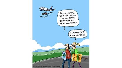 """Cartoonpreis """"Ein Flugzeug, an dem ein Geländewagen hängt, und zwei Jugendliche auf der Straße, die feststellen, dass das große Auto dem Vater eines der Jugendlichen gehört."""""""