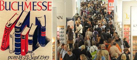 Collage: Plakat Frankfurter Buchmesse 1949 / Menschengedränge in einem Hallengang auf der Buchmesse