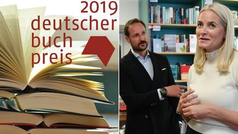 Collage: Buchpreis-Logo 2019 / Kronprinzenpaar aus Norwegen in einer Berliner Buchhandlung