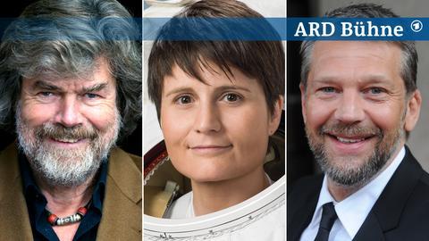 Collage Bühne Samstag Reinhold Messner, Samantha Cristoforetti, Kai Wiesinger