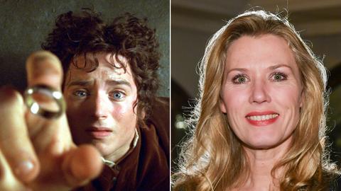 """Colllage: Elijah Wood als Hobbit Frodo in einer Szene des Kinofilms """"Der Herr der Ringe"""", Lottofee Franziska Reichenbacher"""