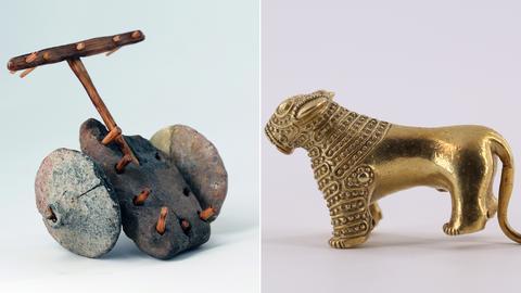 Modell eines zweirädrigen Wagens und goldene Löwenfigur aus der 2. Hälfte des 3. Jahrtausends v. Chr.