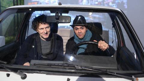 Regisseur Michel Gondry beim Dreh in der Filmfabrik